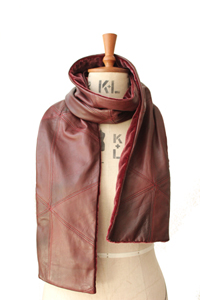 scarf lether wine